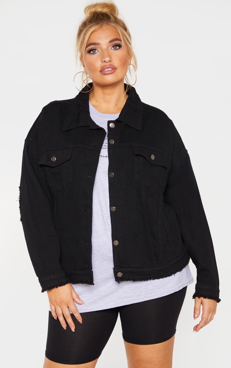Plus Black Distressed Oversized Denim Jacket 1