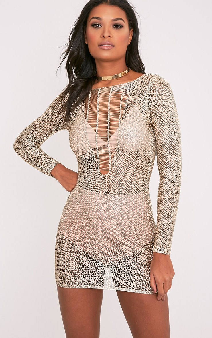 Kay Petite Gold Metallic Knitted Mini Dress 5