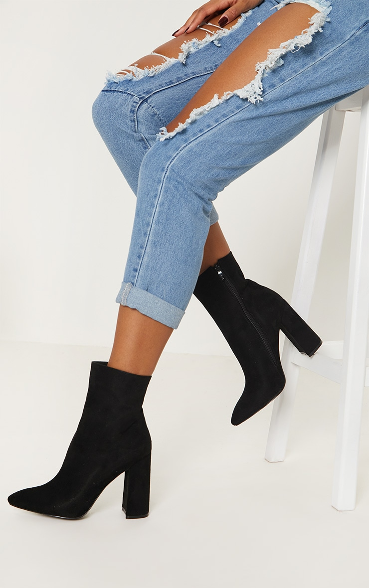 Black Faux Suede High Point Ankle Boot 1
