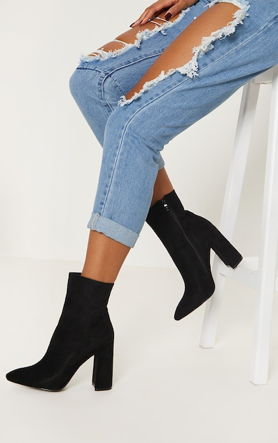 Black Faux Suede High Point Ankle Boot