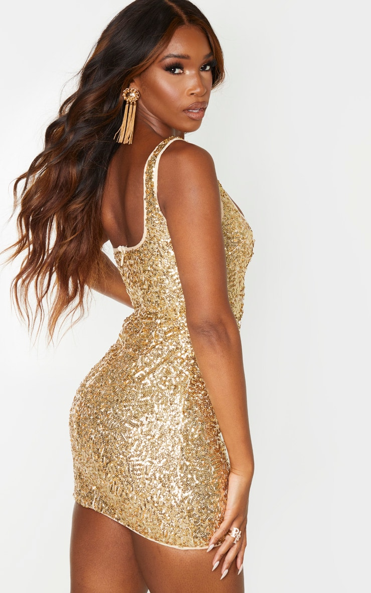 Gold Sequin Sleeveless Square Neck Bodycon Dress 2