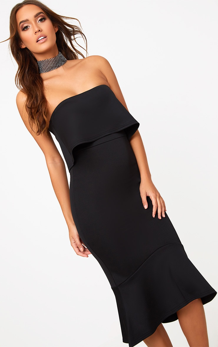 Black Bandeau Frill Hem Midi Dress 1