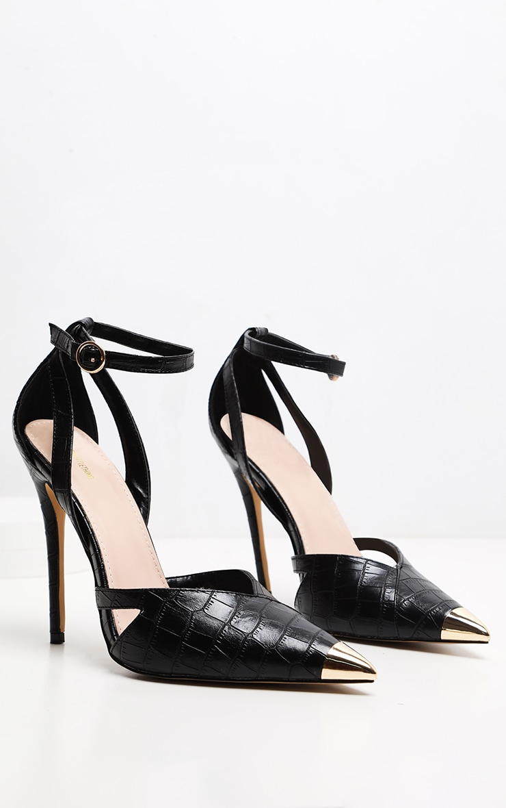 Black Cut Out Heel Metal Toe Court Shoe 3