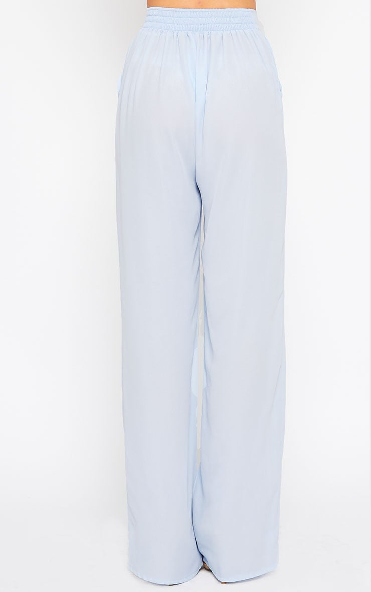 Theadora Powder Blue Chiffon Wide Leg Pants 4
