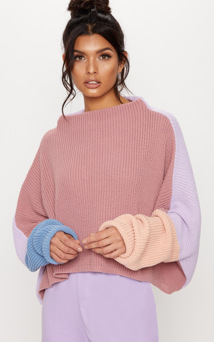 Pink Oversized Colour Block Sweater 4