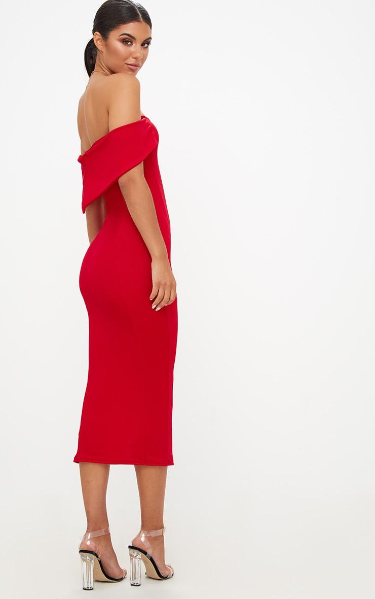 Red Longline Bardot Midi Dress 2