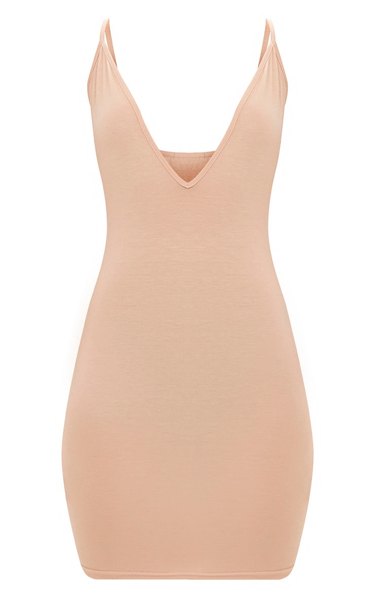 Nude Jersey Strappy Plunge Bodycon Dress 3