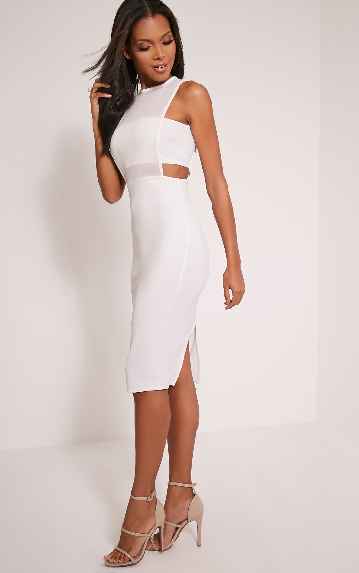 Lanelle White Mesh Detail Midi Dress 4