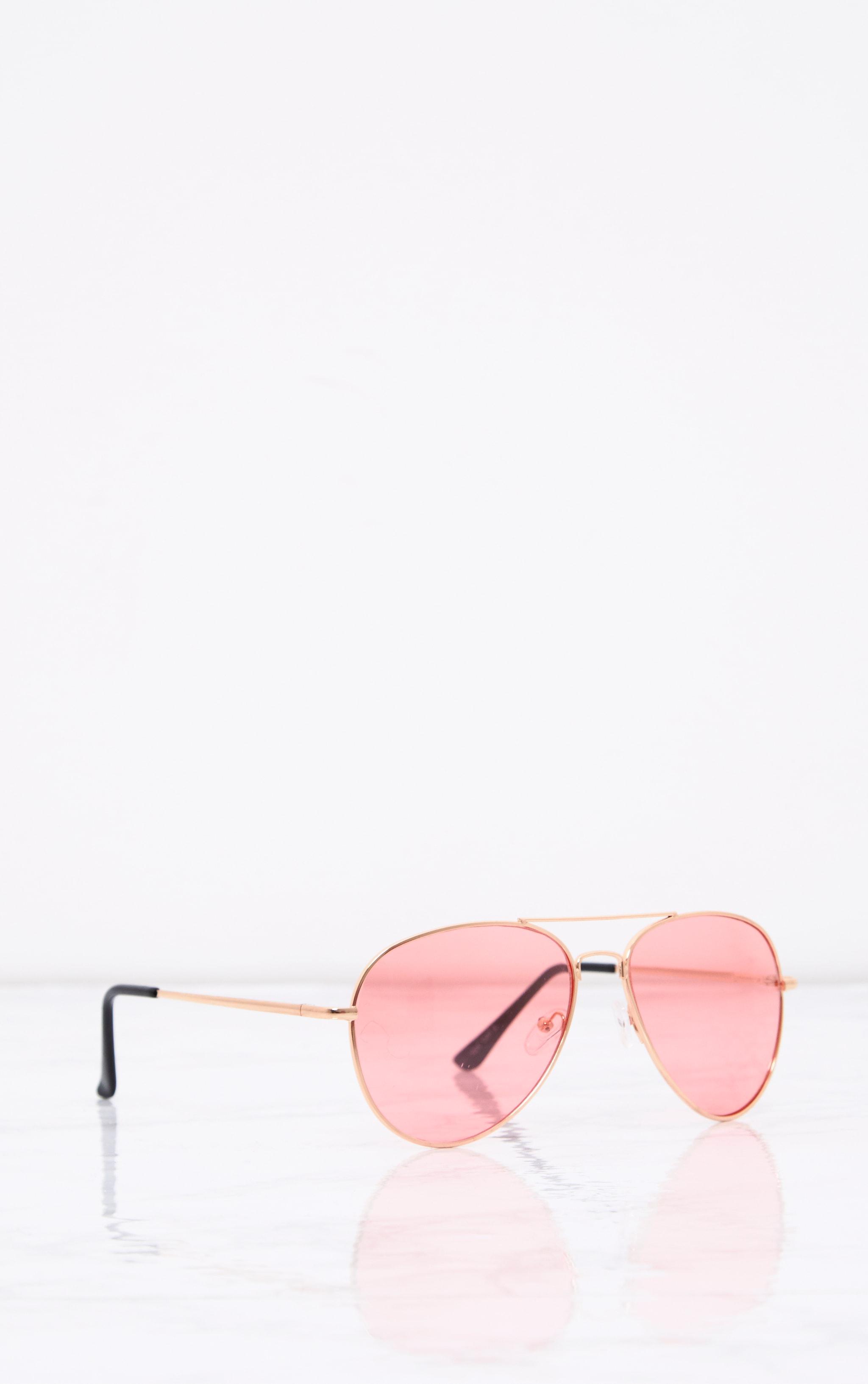 Kelie lunettes aviateur à verres teintés roses 3