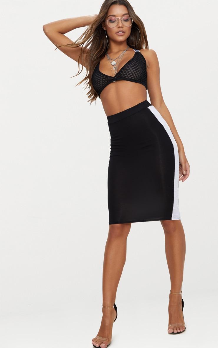 Black Contrast Stripe Midi Skirt 1