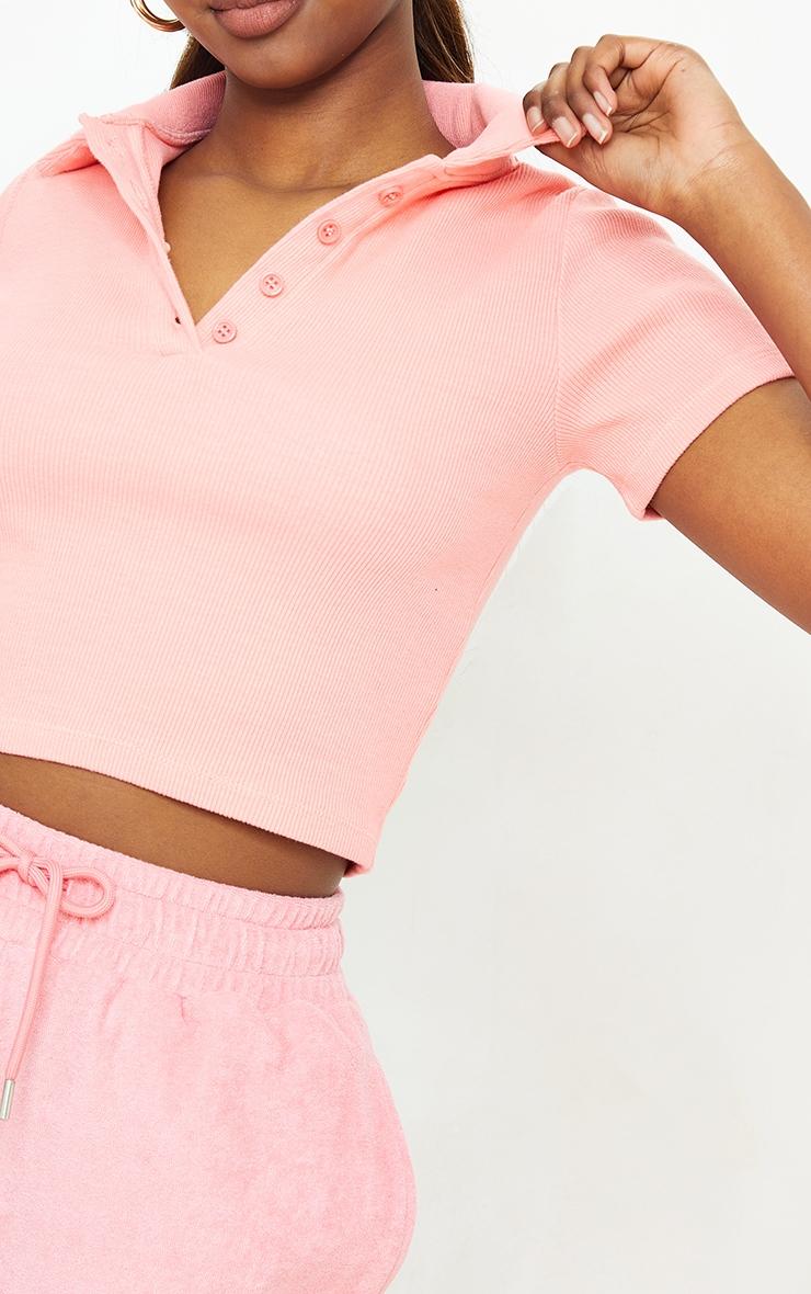 Bubblegum Pink Rib Button Up Short Sleeve Polo Shirt 4