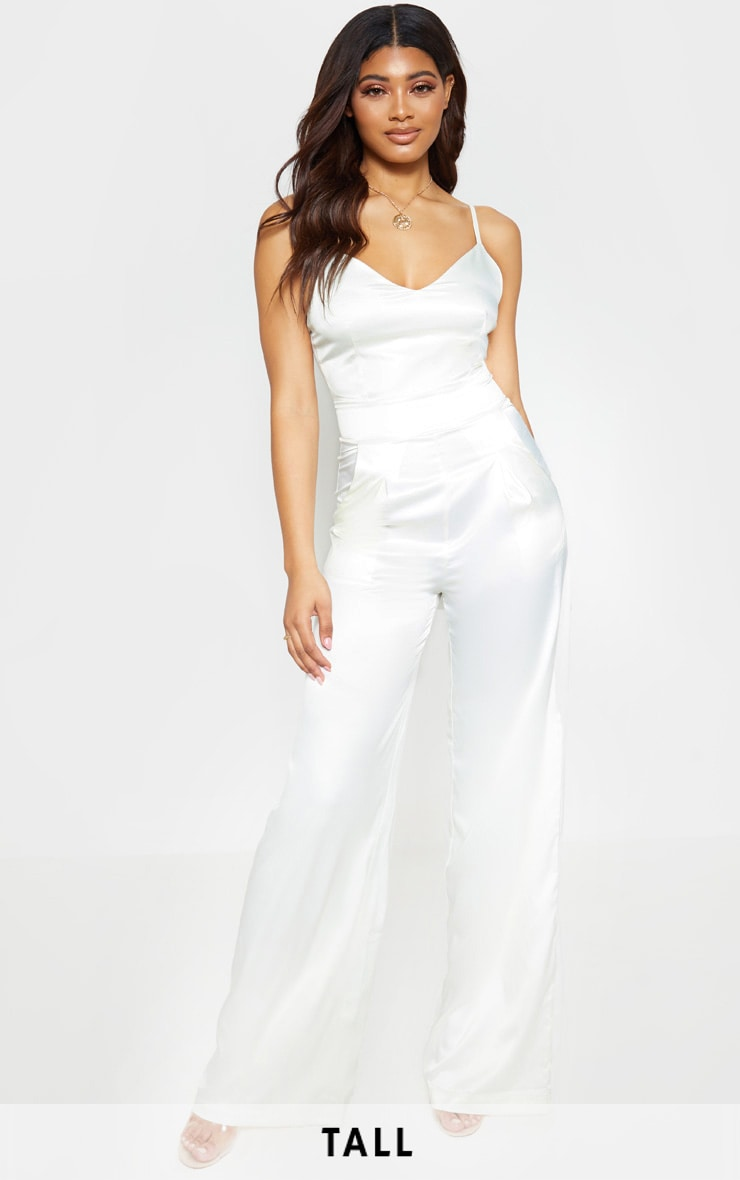 Tall Cream Satin Strappy Jumpsuit 1
