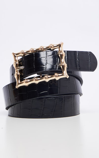 Black Square Bamboo Buckle Belt