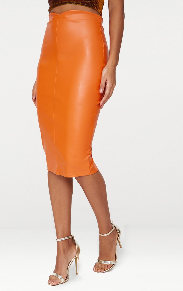 Orange Faux Leather Panel Midi Skirt  2