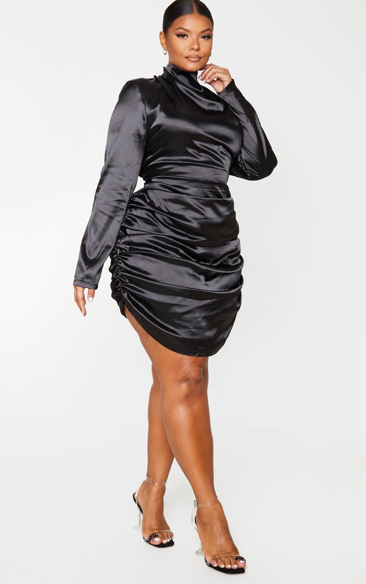 Plus Black Satin High Neck Ruched Skirt Bodycon Dress 3