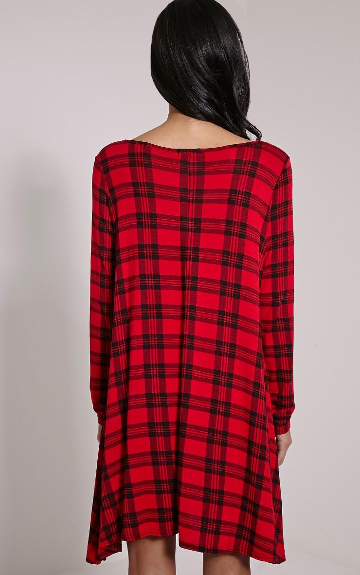 Ivy Red Tartan Long Sleeve Swing Dress 2