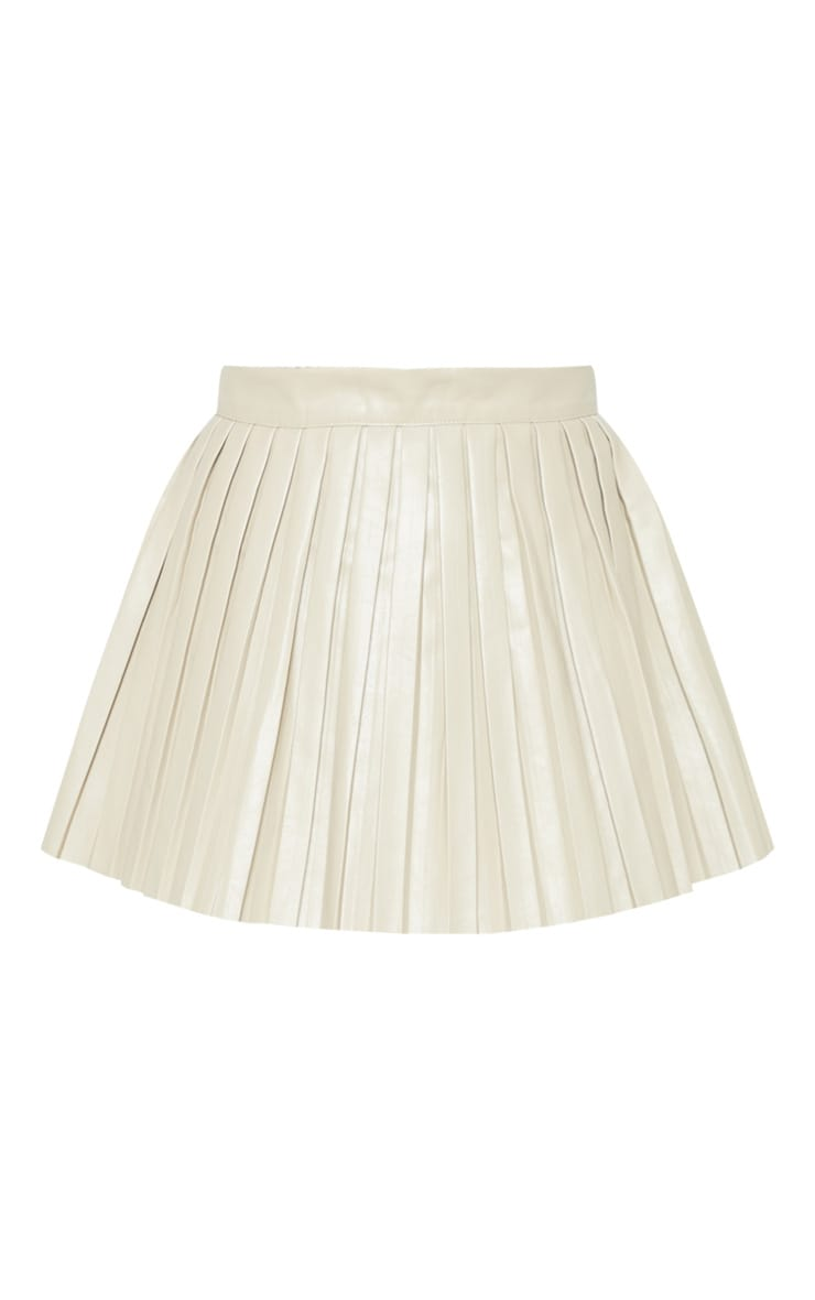 Stone Faux Leather Pleated Skater Skirt 3
