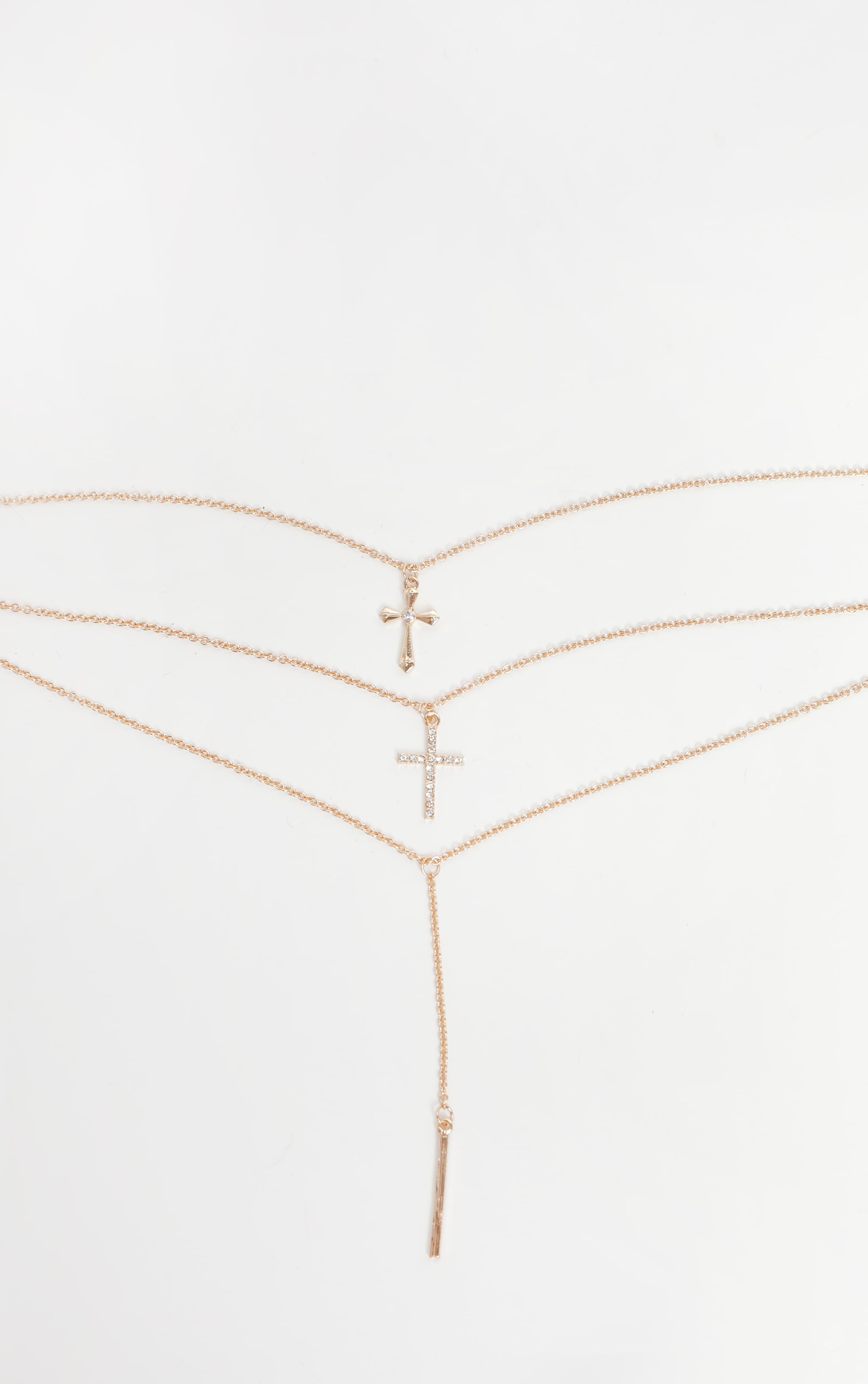 Gold Layering Long Cross Charm Necklace 3