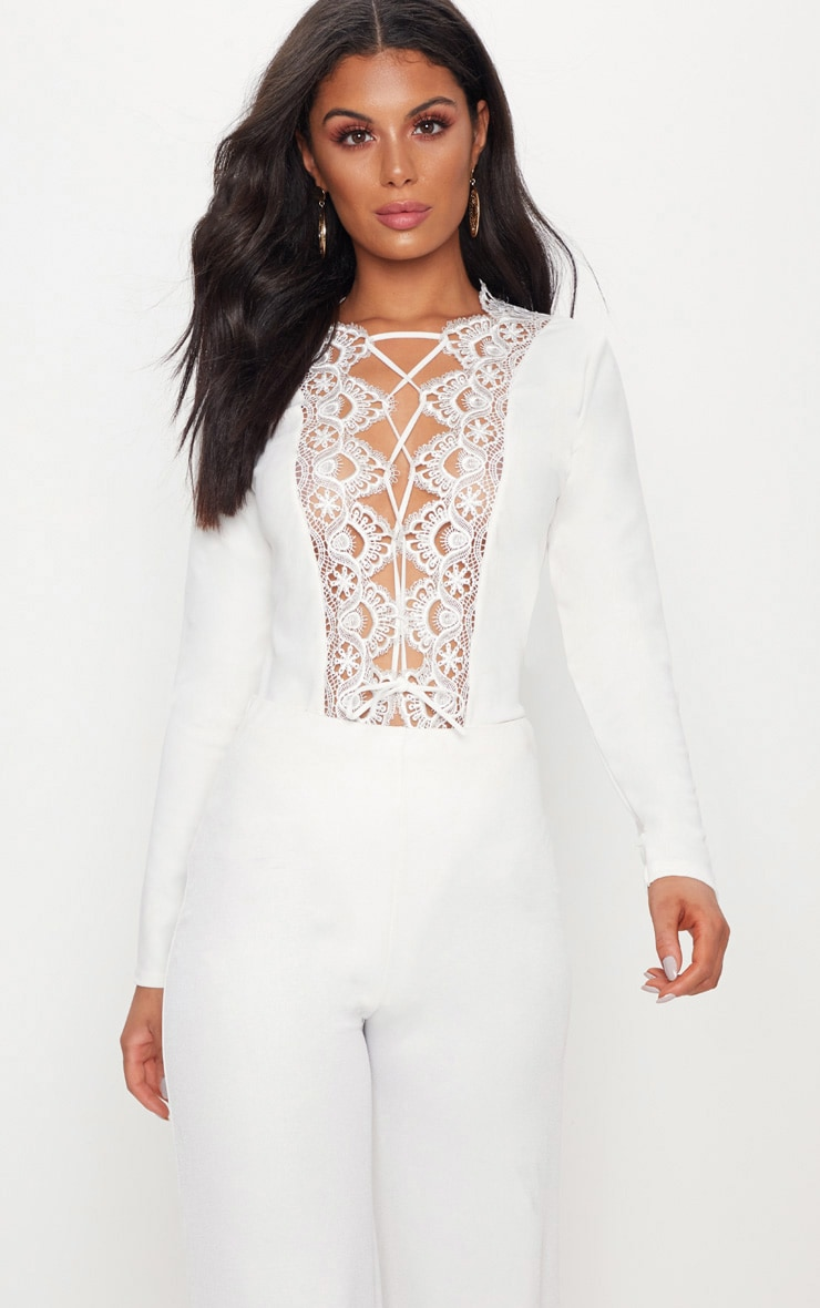 White Lace Up Long Sleeve Thong Bodysuit