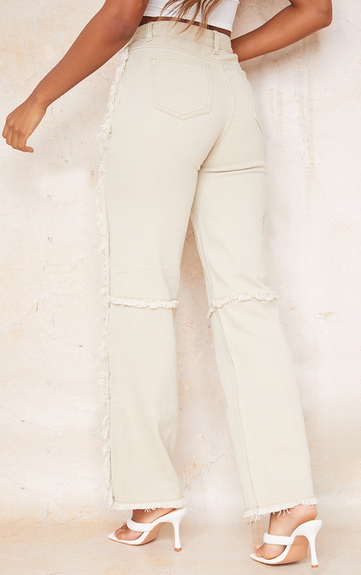 Washed Stone Wide Leg Seam Detail Jeans 3