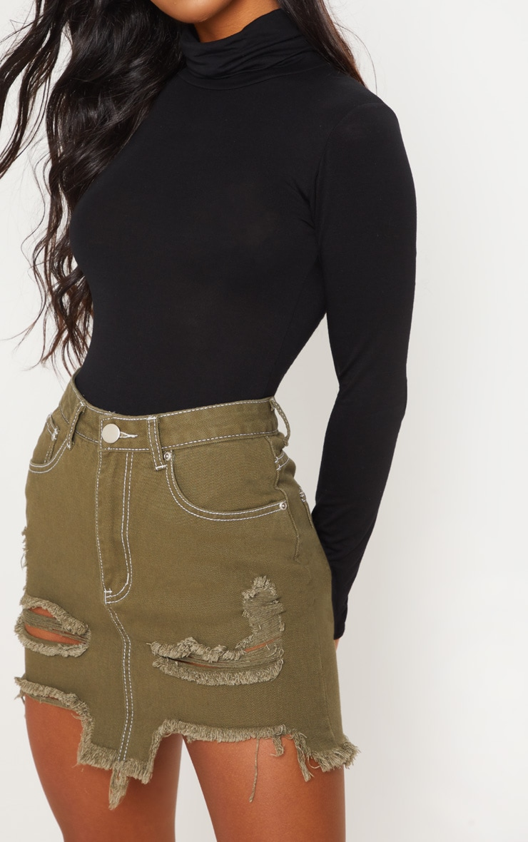 Khaki Contrast Stitch Distressed Denim Mini Skirt  6