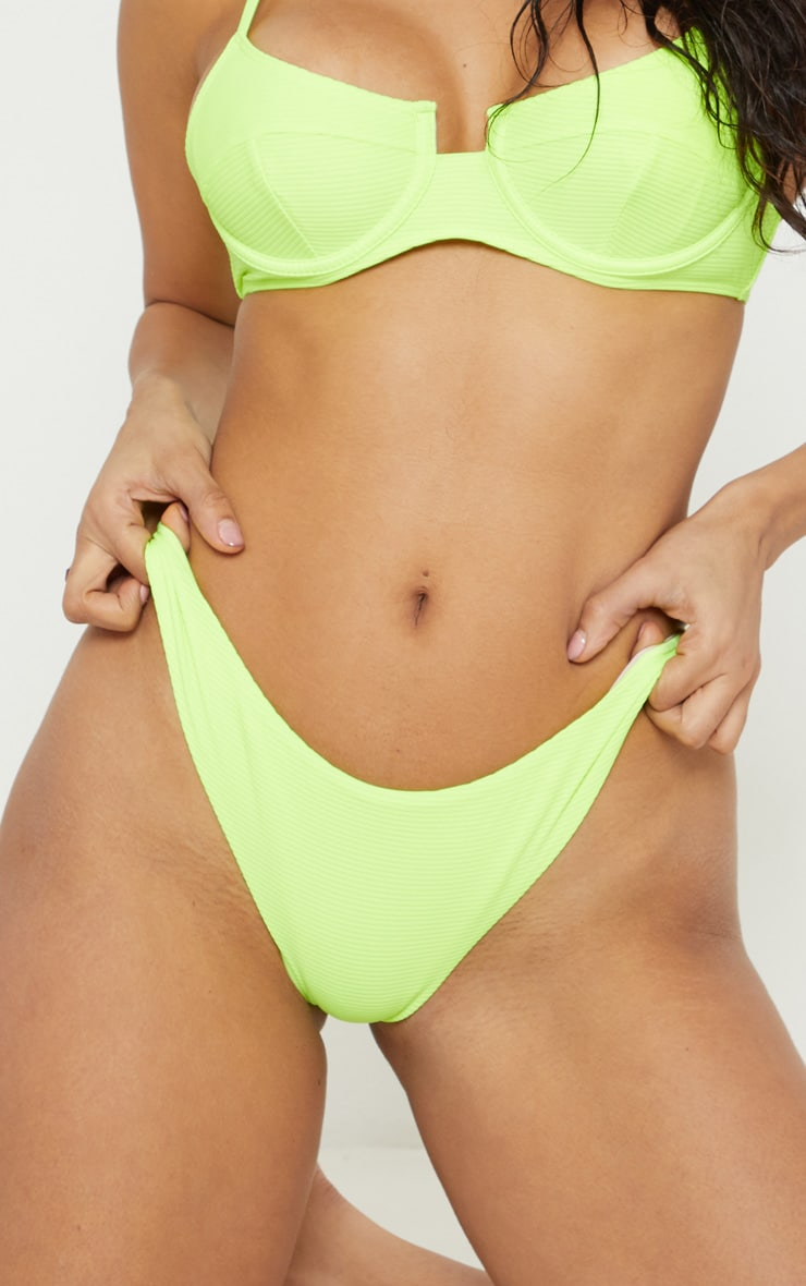 Neon Yellow Mini Ribbed Bikini Bottoms 6