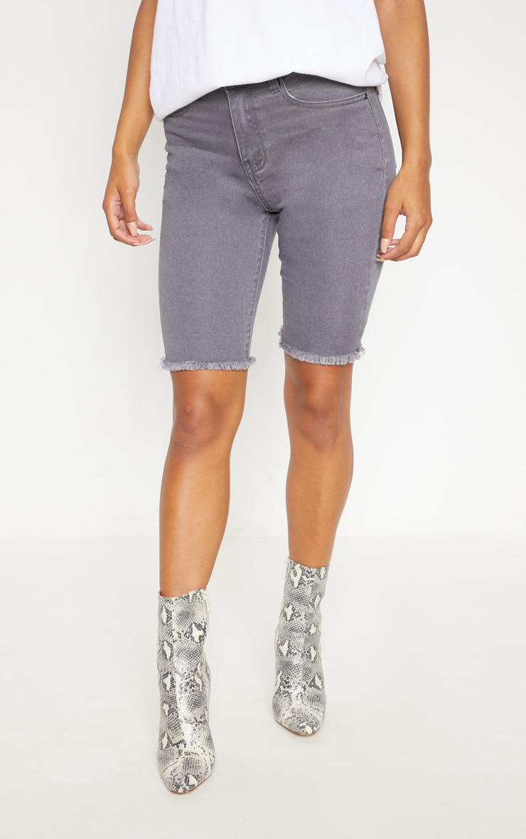 Grey Skinny Denim Cycle Shorts 2