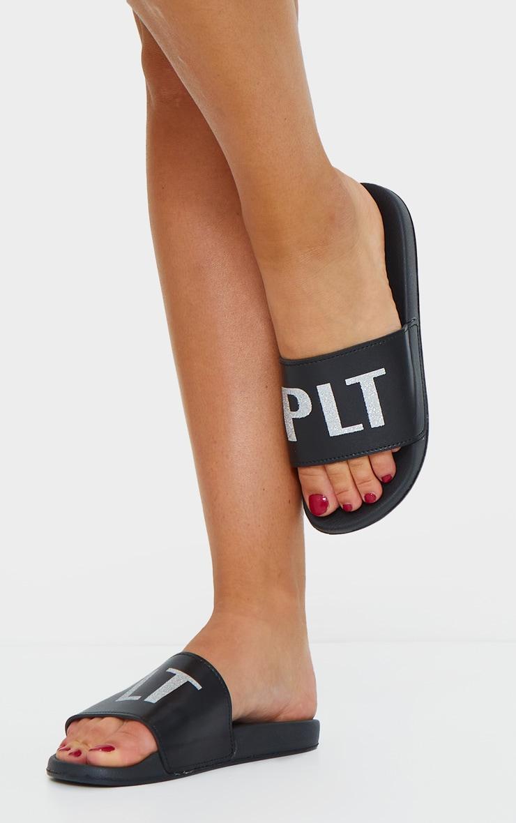 PRETTYLITTLETHING Black Glitter PU Sliders 1