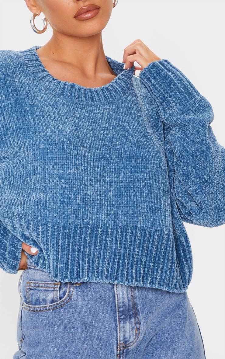 Blue Chenille Knitted Deep Hem Sweater 4