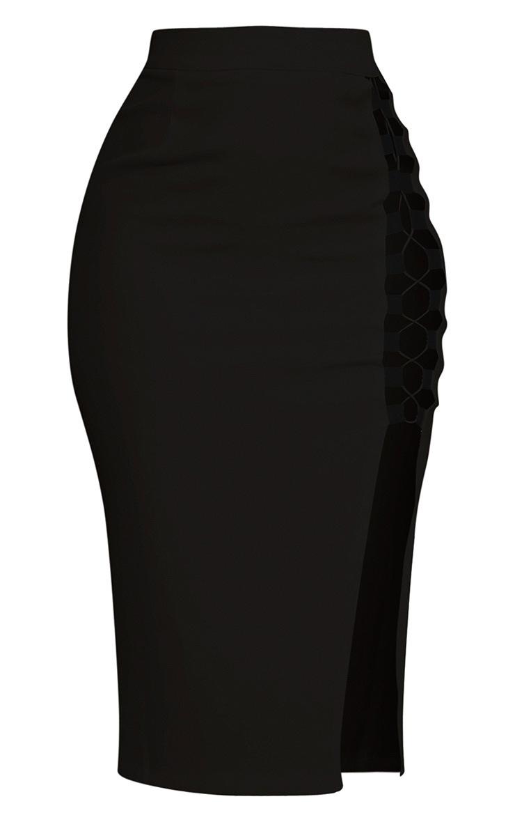 Janelle Black Lace Up Midi Skirt 2