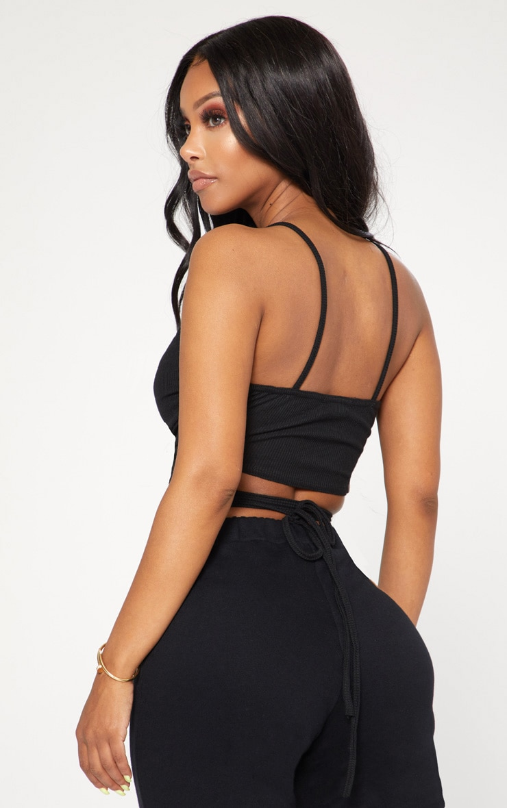 Shape Black Ribbed Wrap Waist Detail Crop Top 2