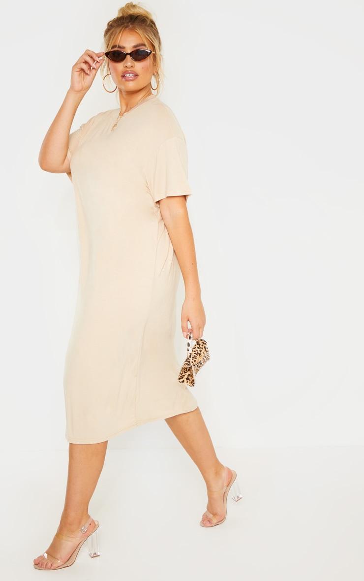 1e7284880554e2 The Plus Stone Oversized Boxy Midi T-Shirt Dress. Head online and ...