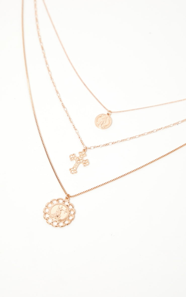 Gold Coin Cross And Chain Disc Multi-Layer Necklace 1