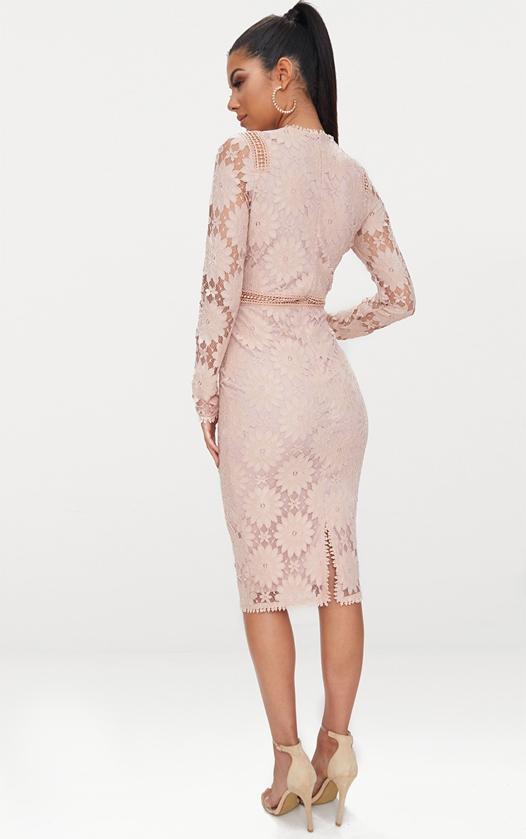 Dusty Pink Long Sleeve Lace Bodycon Dress 2