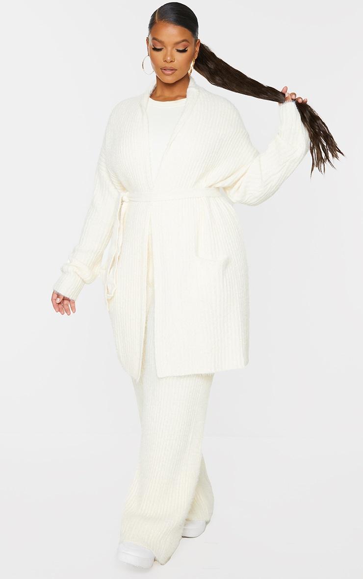 Plus Cream Ribbed Eyelash Knit Belted Cardigan 3