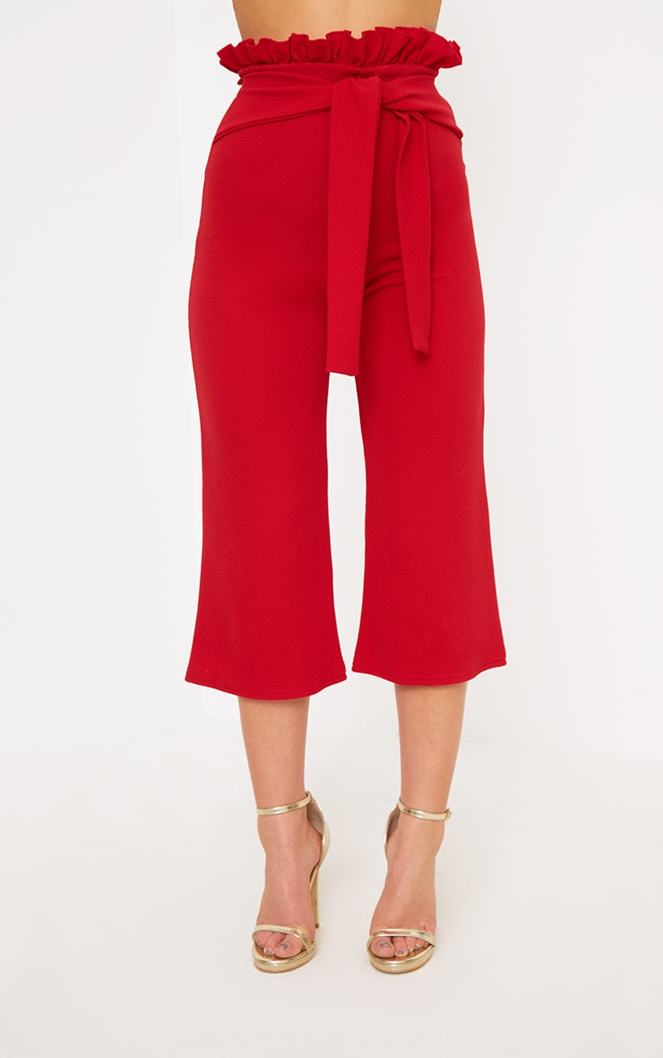 Petite Red Paperbag Waist Culottes  2