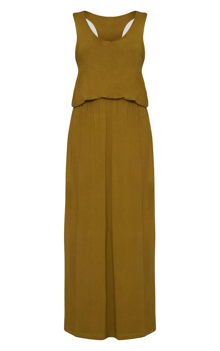 Dark Olive Bagged Over Maxi Dress 3