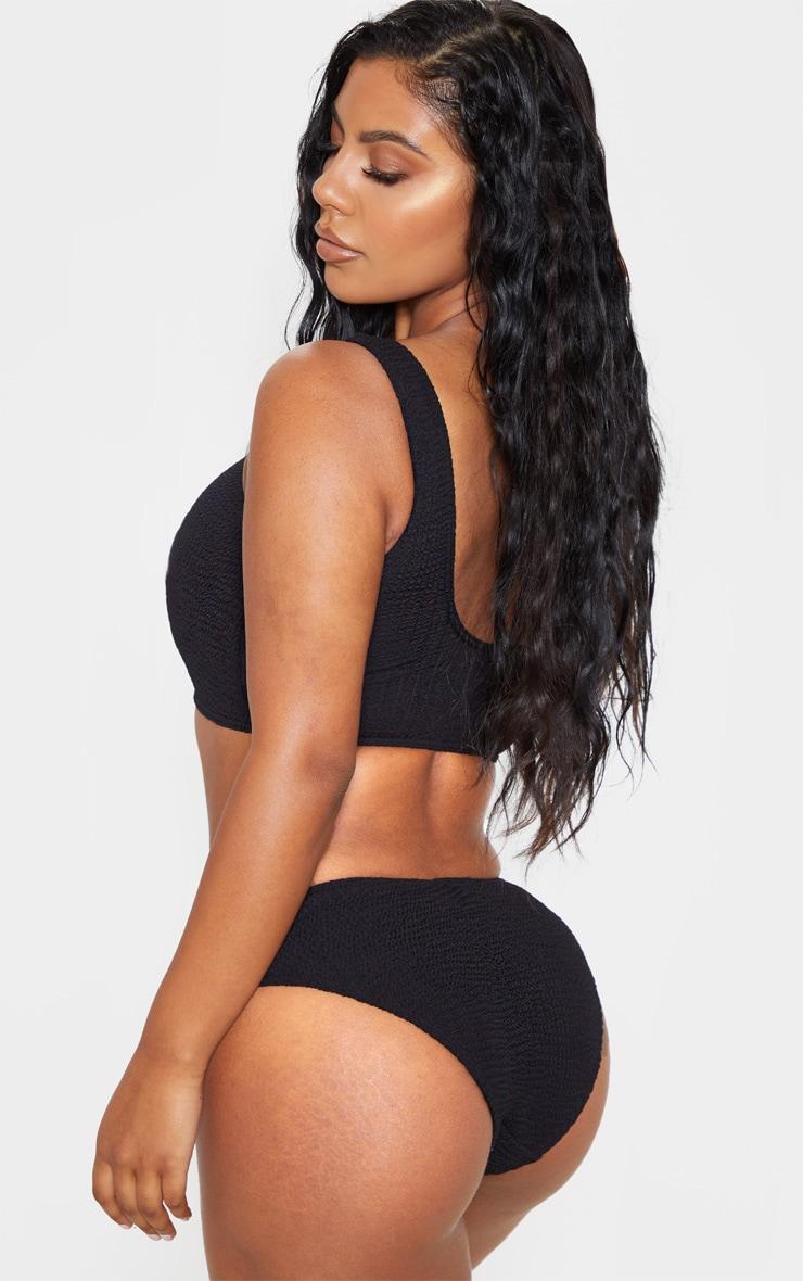Black Fuller Bust Crinkle Deep Scoop Bikini Top 2