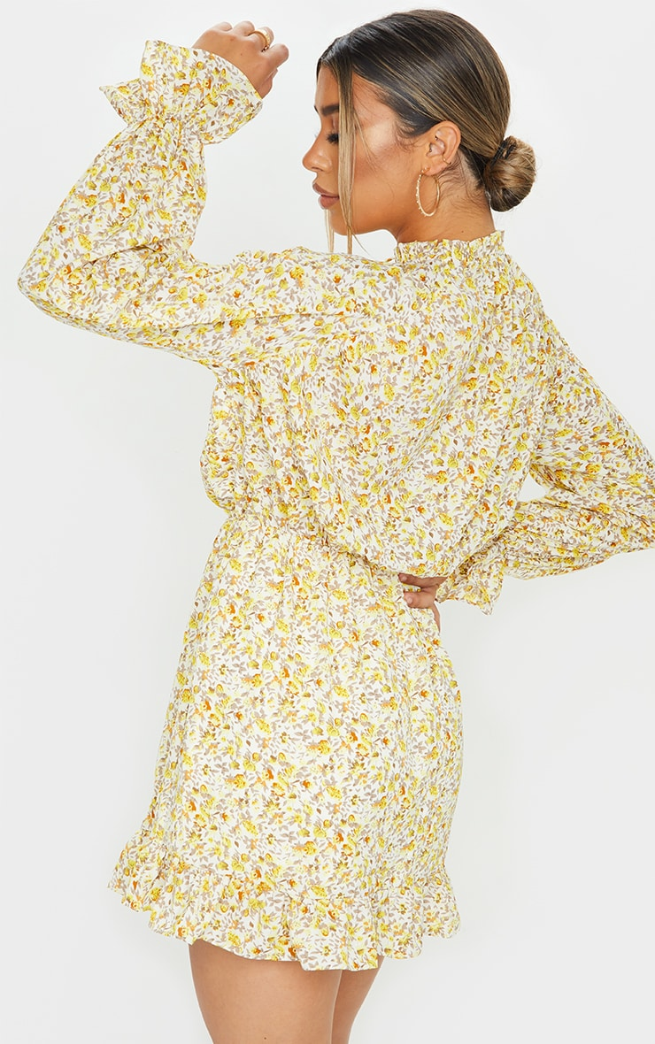 Lemon Floral Print Elasticated Frill Cuff Smock Dress 2