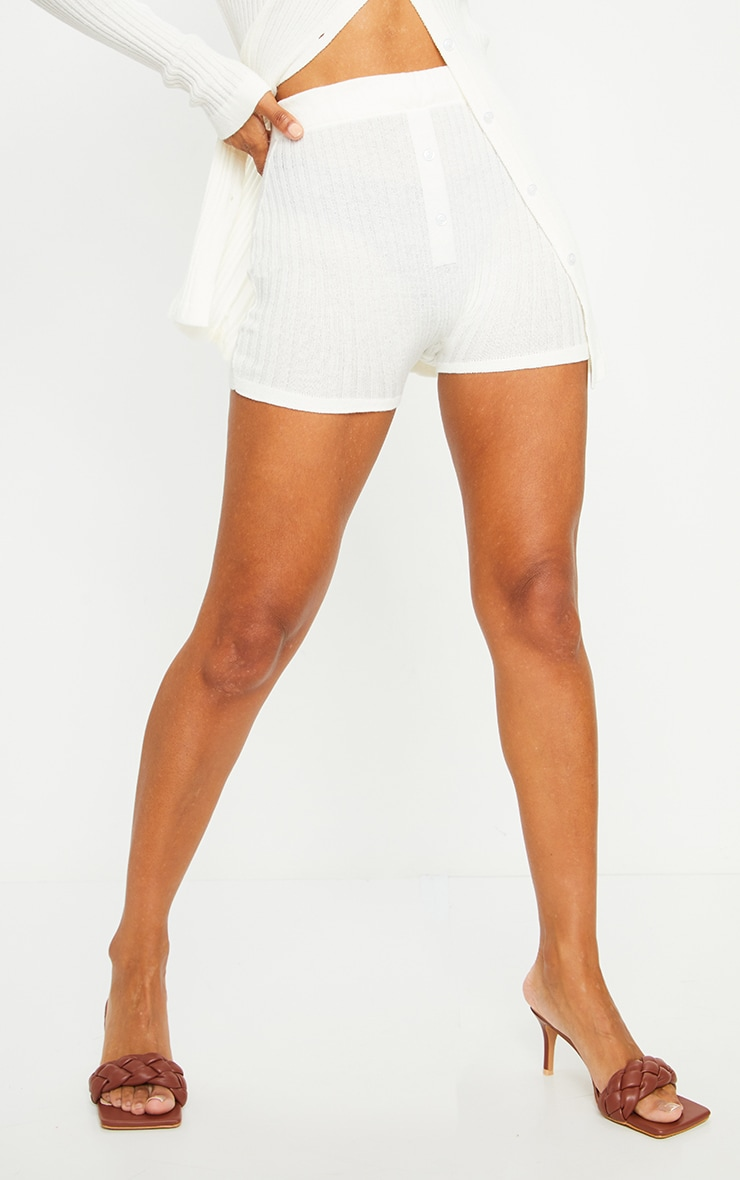 Cream Knitted Ribbed Button Bike Short 2