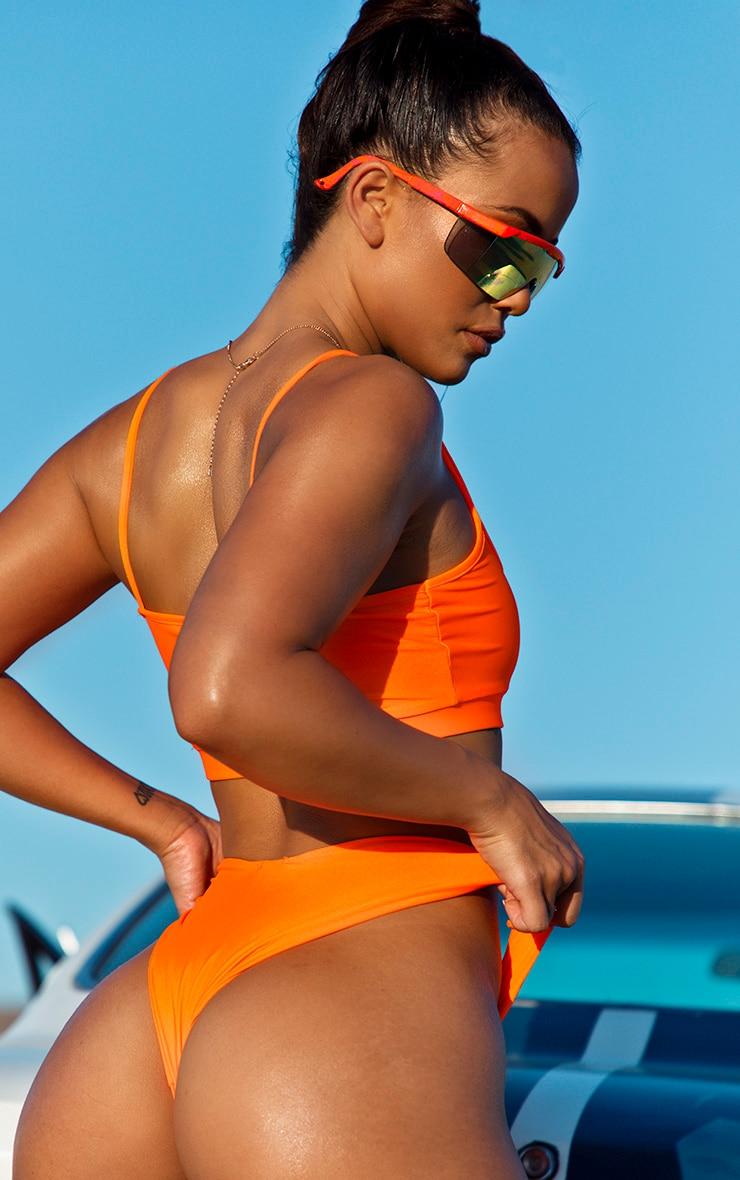 Orange Cheeky Bum Mini Bikini Bottom 4
