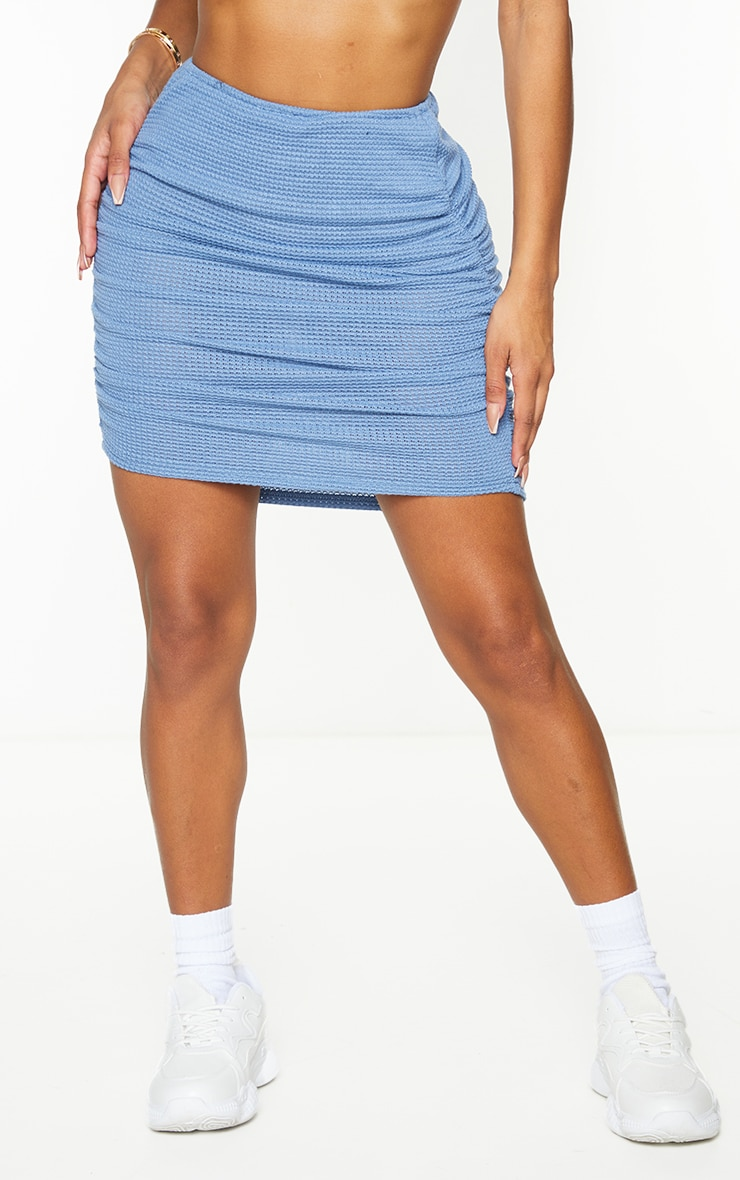 Shape Blue Knit Ruched Side Bodycon Skirt 2