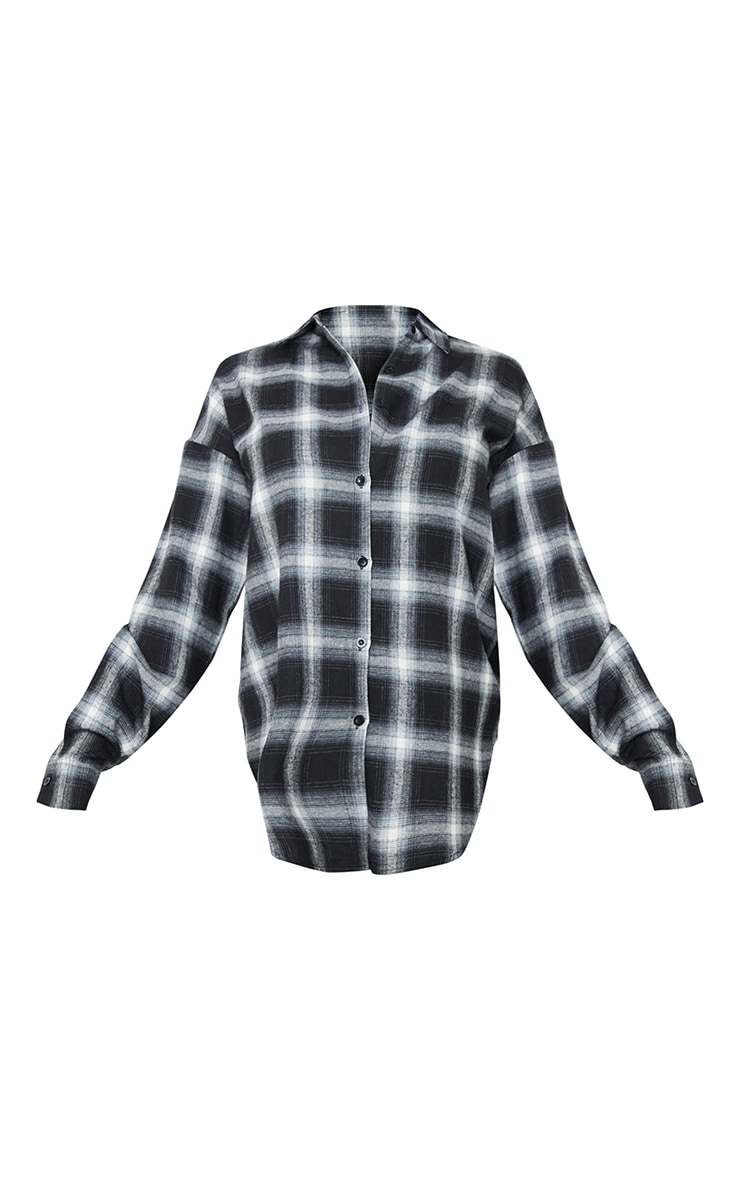 Tall Black Checked Oversized Shirt 5