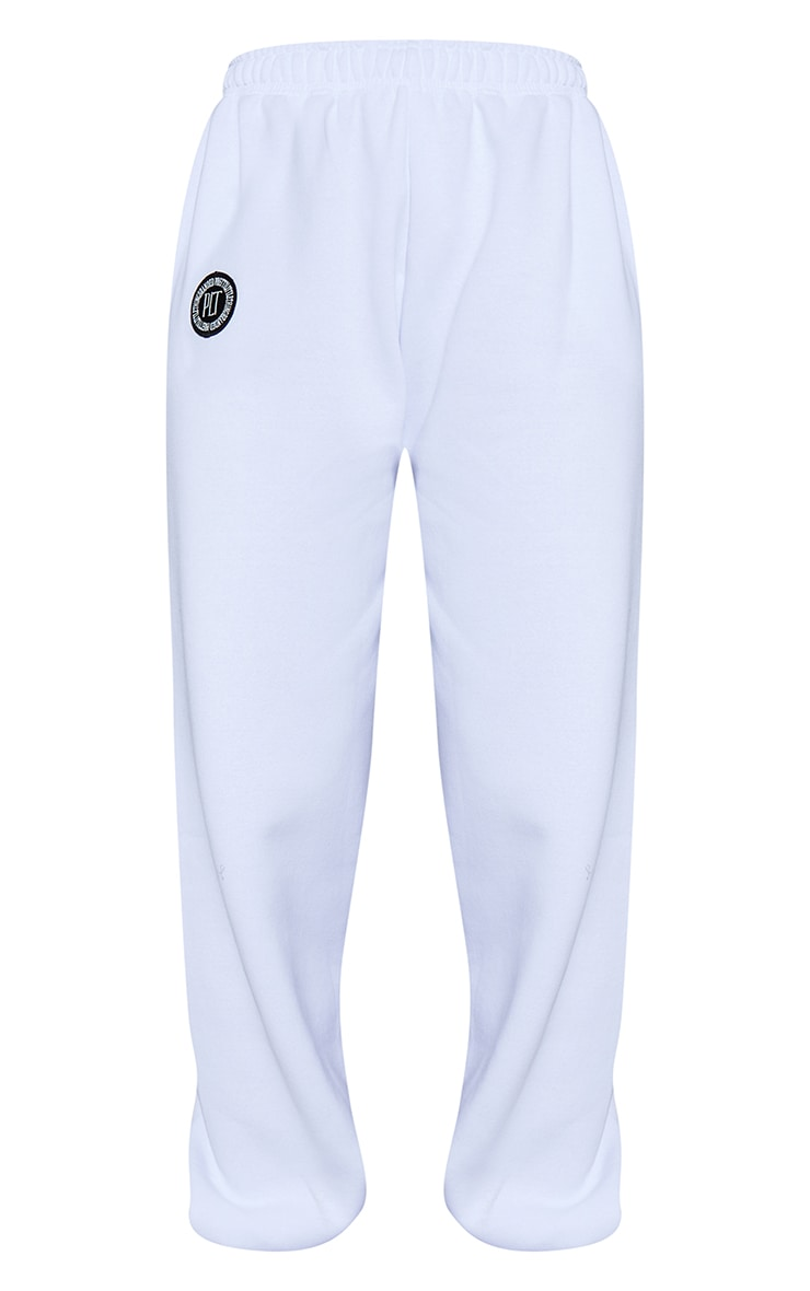 PRETTYLITTLETHING White Branded Badge Detail Joggers 5