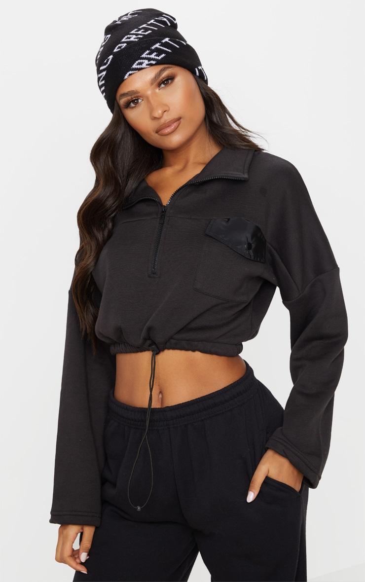 Black Pocket Zip Front Crop Sweater 1