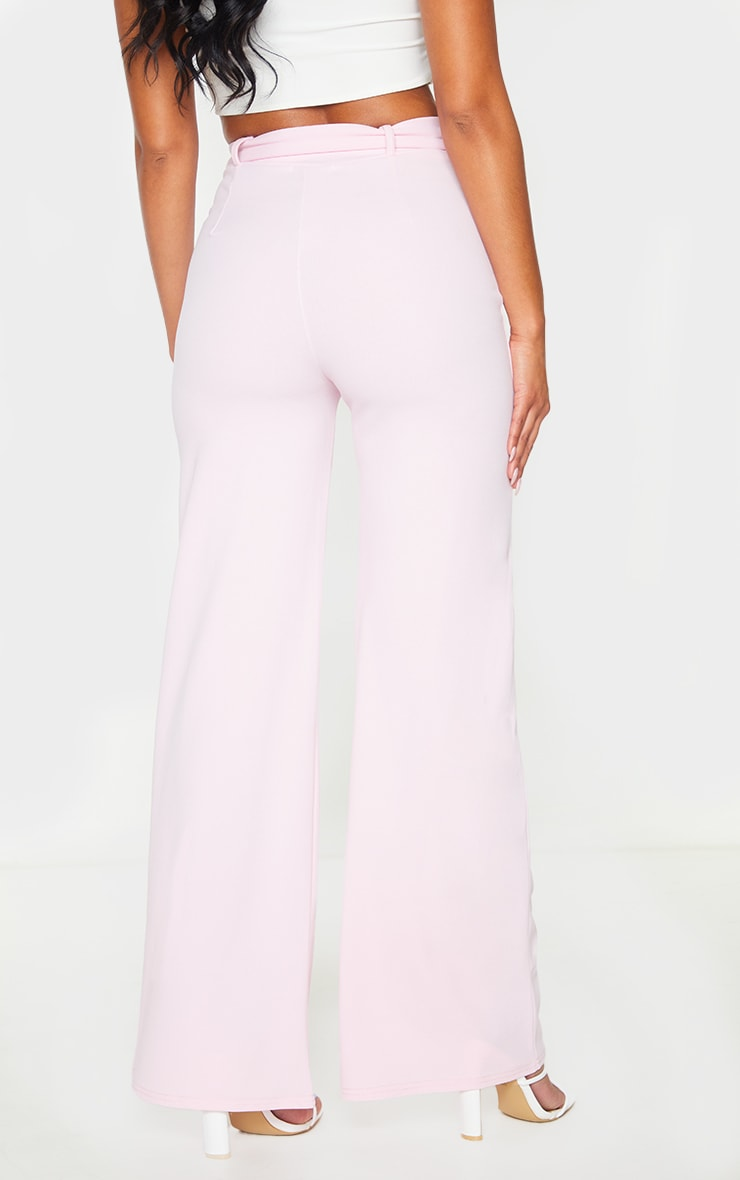 Pink Wide Leg Belted Pants 3