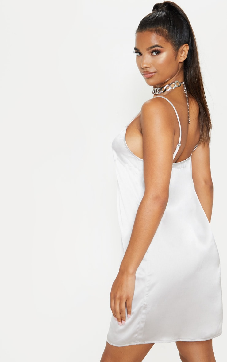 Grey Satin Slip Dress 2