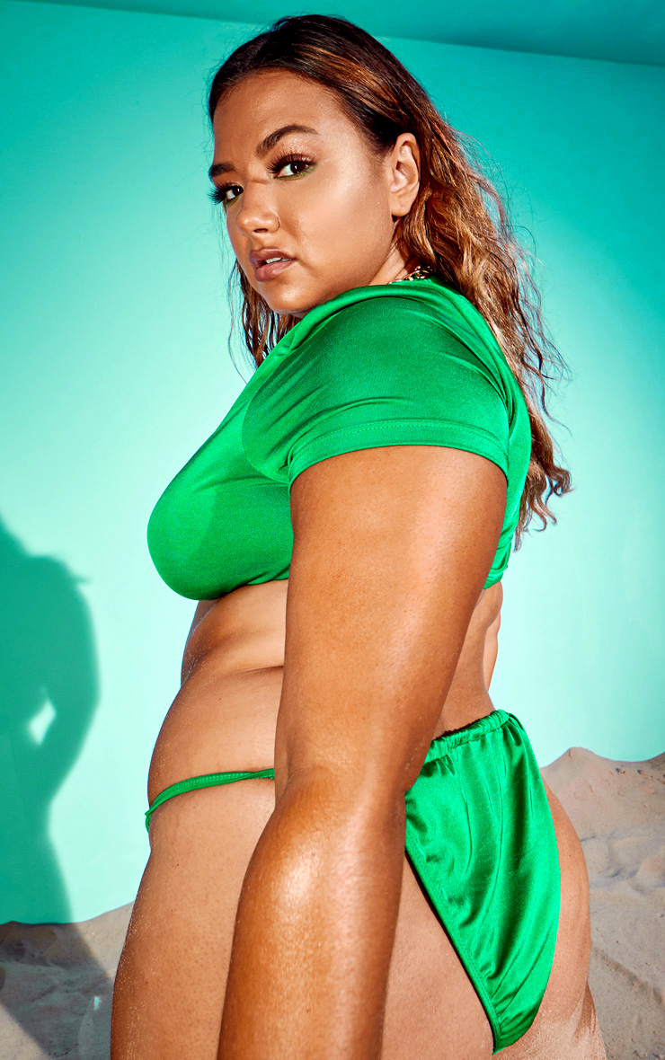 Plus Emerald Green Jewel Front T Shirt Bikini Top 2