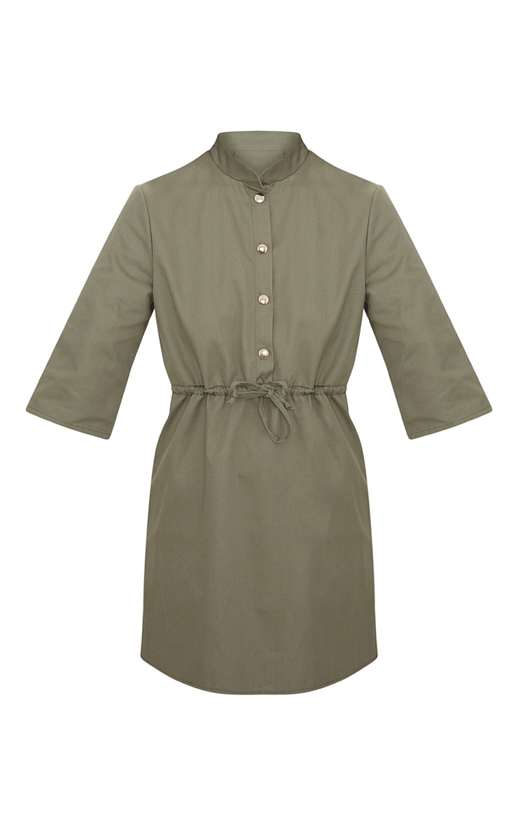 Khaki Utility Shirt Dress  3