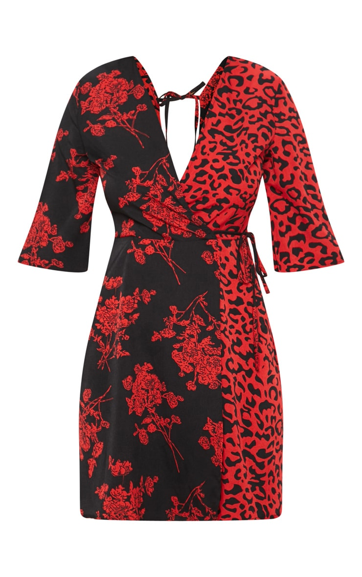 Red V Neck Mixed Print Tea Dress 3